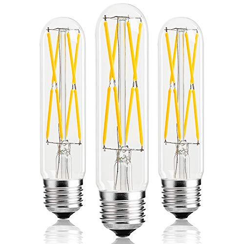 - T10 Led Tubular Bulb,75 Watt Incandescent Bulb,8W Dimmable Edison Led Bulb,3000K Soft White,E26 Medium Base Lamp, 3-Pack (Soft White(Clear Glass))
