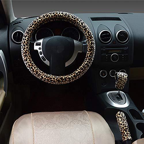 - ZATOOTO Steering Wheel Cover for Women - 1 Set 3 Pcs Handbrake Cover Gear Shift Cover Winter Fur Fluffy Plush Universal Fit for 14.5
