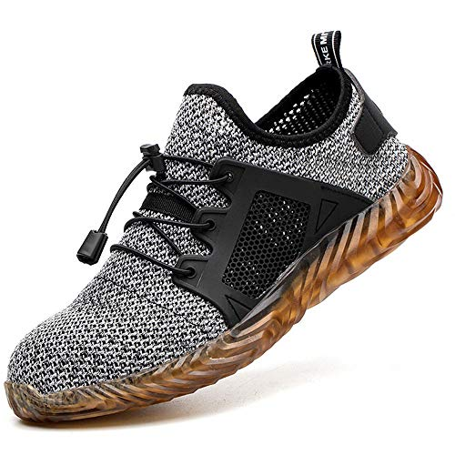 ESDY Steel Toe Shoes Men, Safety Work Sneakers Outdoor Lightweight Breathable Industrial Construction Non Slip Puncture Proof Composite Toe Shoes 703/Grey US11.5/EU47