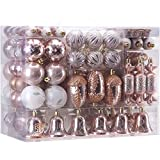Sea Team 155-Pack Assorted Shatterproof Christmas Ball Ornaments Set Decorative Baubles Pendants with Reusable Hand-held Gift Package for Xmas Tree (Rose Gold)