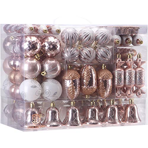 Sea Team 155-Pack Assorted Shatterproof Christmas Ball Ornaments Set Decorative Baubles Pendants with Reusable Hand-held Gift Package for Xmas Tree (Rose Gold) (Tree Ornaments Christmas Shatterproof)
