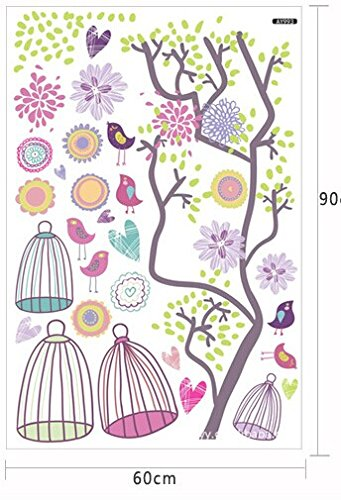GetTen® New Fantasy Cartoon Large Bird Cage Flower Tree Colorful Kids Wall Decals Stickers Vinyl Removable Wall Art