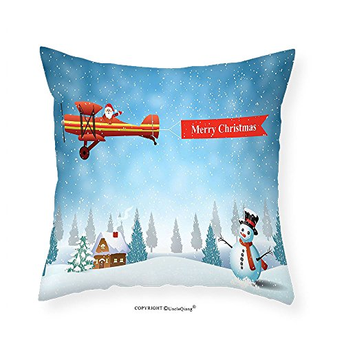 VROSELV Custom Cotton Linen Pillowcase Christmas Decorations Collection Santa in a Plane with Merry Xmas Banner Flying over Forest with Snowman Jolly Season Bedroom Living Room Dorm Blue 16