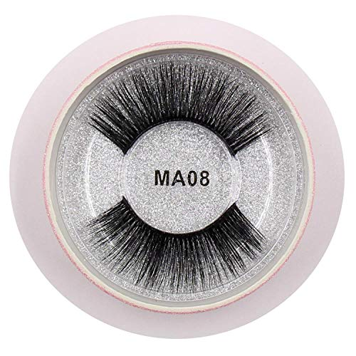 Eyelashes 3D Silk Fibroin Transparent Plastic False Eyelashes Natural Long Dramatic False Lashes Pink Round Glitter Box,Ma08