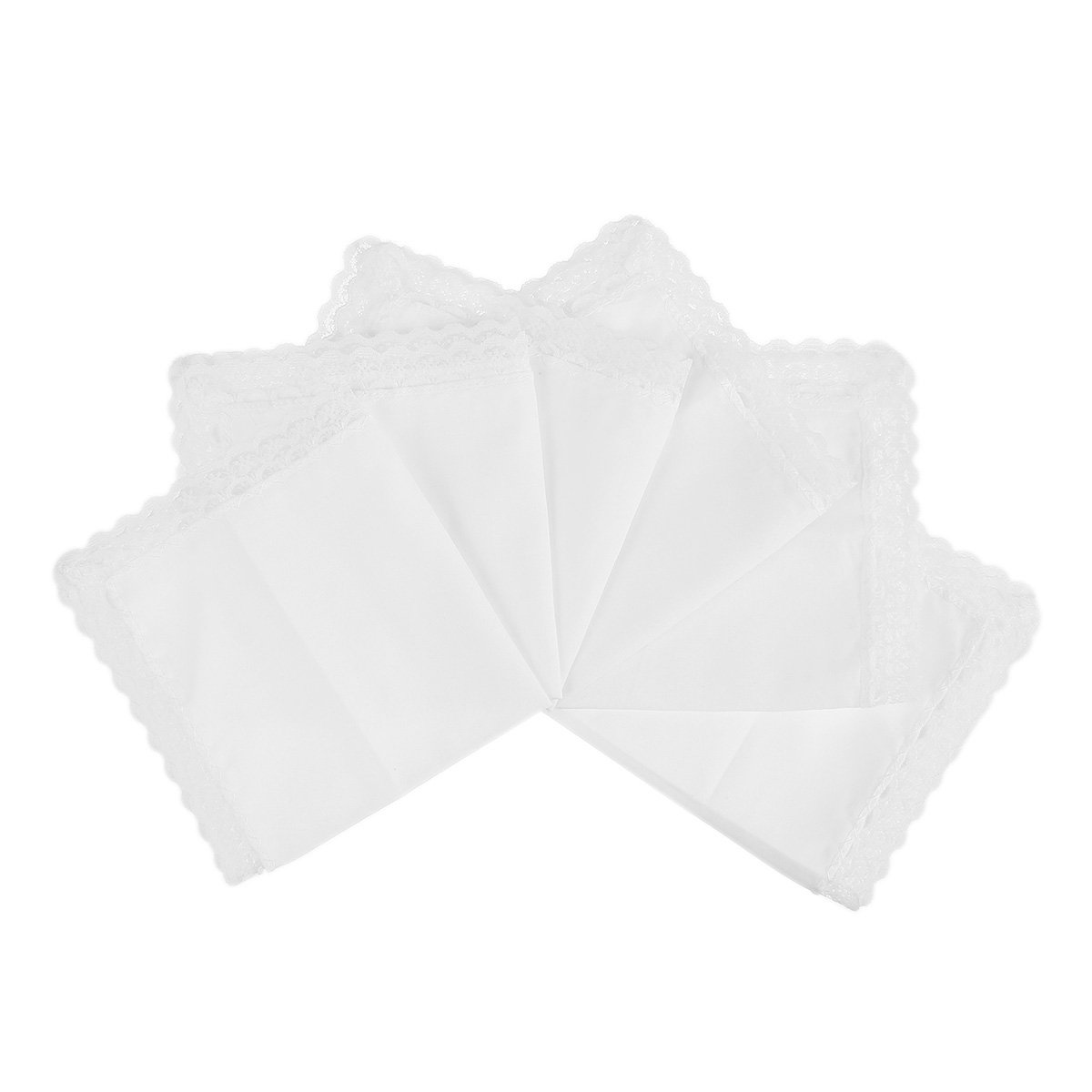 Houlife Ladies Soft Pure White 100% Cotton Lace Wedding Handkerchiefs 6 Pieces