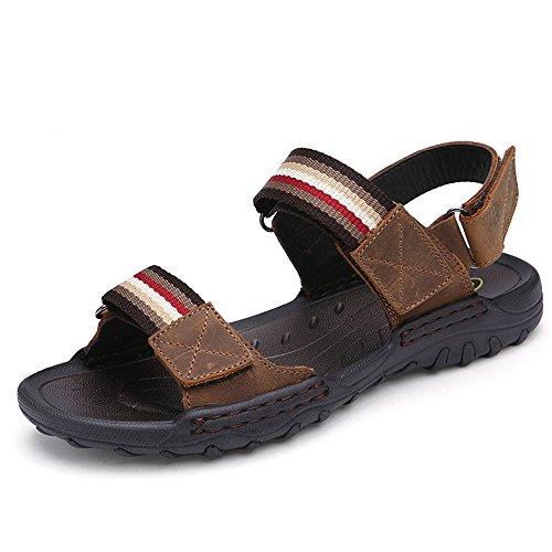 de Playa de de Hombres Sandalias Zapatos Cuero Cabeza Light Redonda Casual Los QXH Brown Transpirable BZCwtt