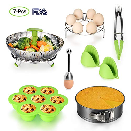 Accessories for Instant Pot, Included Steamer Basket, Egg Shell Topper Cutter, Egg Rack, Egg Bites Mold, Non Stick Springform Pan, Food Tong, Silicone Mini Mitts,Fits 5 to 11 Qt for Instant Pot Cooker Review