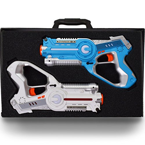 Dynasty Toys Laser Tag Set for Kids (2 Pack) and Carrying Case for Boys and Girls Birthday Party Lazer Tag Blasters (Alle 2 Tag)