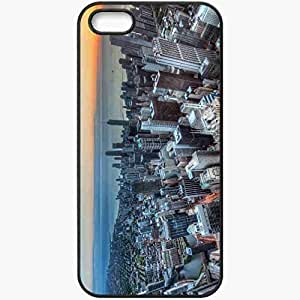 Protective Case Back Cover For iPhone 5 5S Case Chicago Building Panorama Coast Sunset Skyscrapers Black