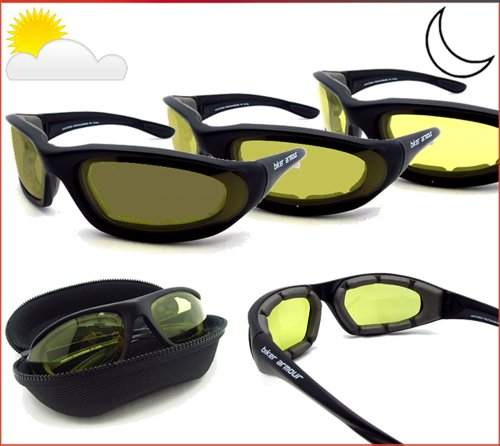 Light Adjusting Motorcycle Glasses Foam Padded for Men and Women with Safety Polycarbonate Photochromic Lenses. Free Hard Case. - Adjusting Glasses Light Motorcycle