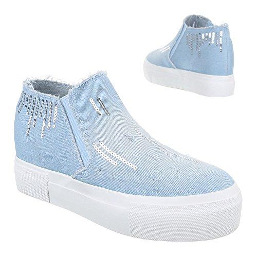 Ital-Design High-Top Sneaker Damenschuhe High-Top Sneakers Freizeitschuhe Hellblau