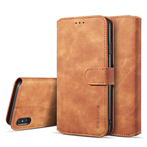 Xs Gift Card (SUTENI iPhone Xs Wallet Case, iPhone Xs Leather Case, Magnetic Closure [Stand Feature] Flip Folio Case with Credit Card Slots and Wrist Strap for iPhone Xs/X (2017) with Gift Box)