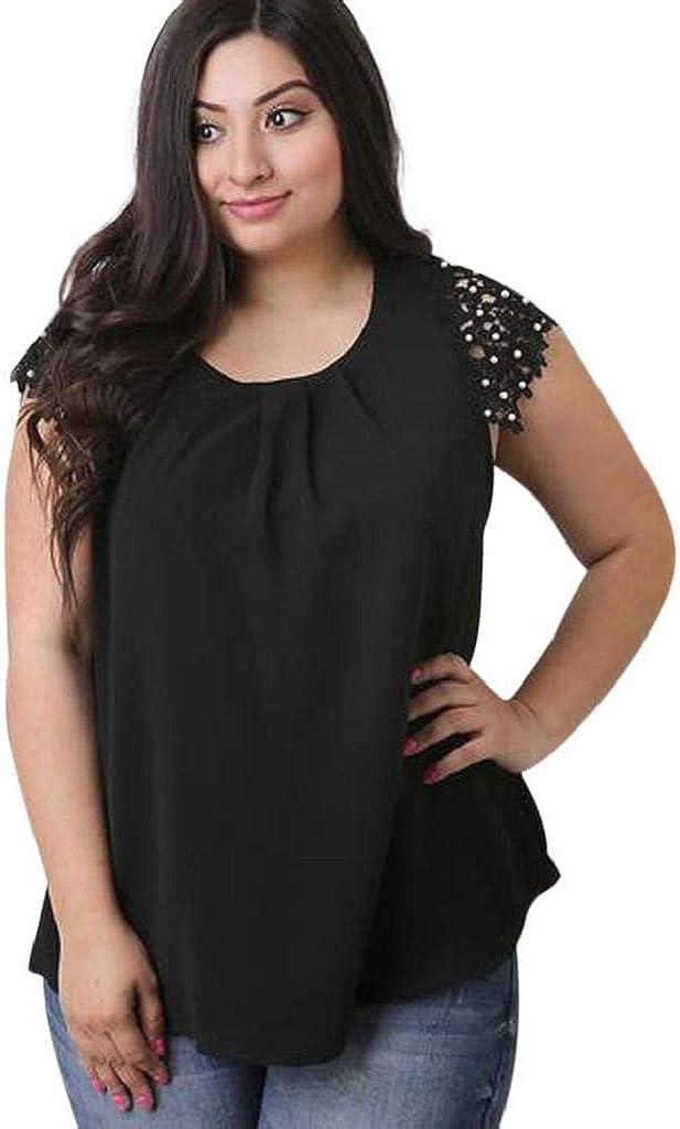 Camisetas Mujer Tallas Grandes Heavy SHOBDW Tops Casuales De Gasa De Manga Corta Blusa De Encaje De Flores Camisas Delgadas De Las Señoras Camiseta De Cuello Redondo para Mujer: Amazon.es: Ropa y