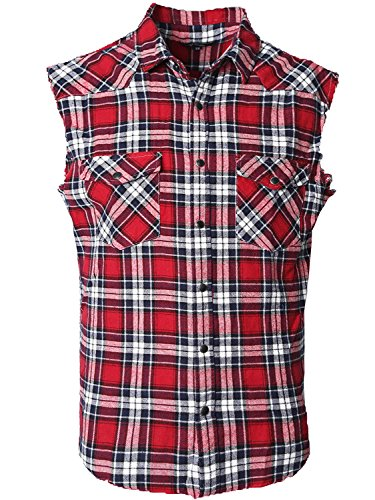 NUTEXROL Men's Casual Flannel Plaid Shirt Sleeveless Cotton Plus Size Vest (Large RED/BLACK) - Red Flannel Shirt For Men