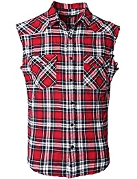 Men's Casual Flannel Plaid Shirt Sleeveless Cotton Plus Size Vest