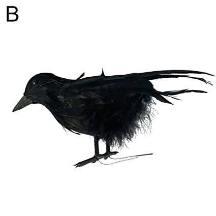 Realistic Artificial Feathered Crows Halloween Party Props Garden Yard Decor