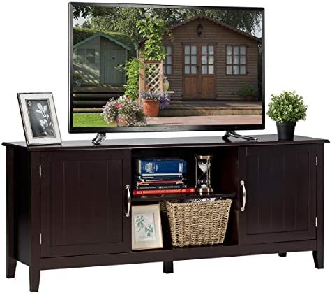 Tangkula Farmhouse Wood Barn Door TV Stand