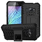 DMG Shock Absorbing Rugged Hybrid Kick Stand Back Cover Case For Samsung Galaxy J1 Ace - Black