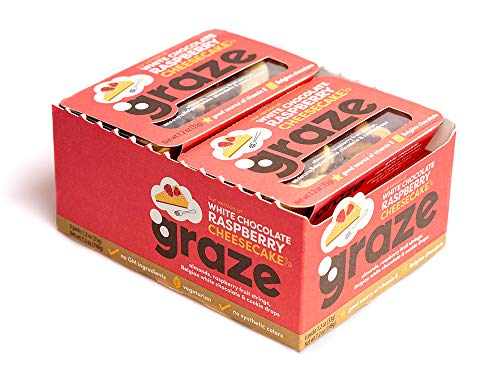 Graze White Chocolate Raspberry Cheesecake Mix - Almonds, Raspberry Fruit Strings, White Chocolate Buttons and Vanilla Cookie Drops - 1.2 Ounce Box (6 Pack)