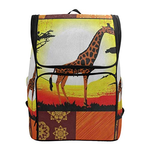 (Laptop Backpack Africa Giraffe TreeCollege Backpack for Men Large Boxy Bookbag)