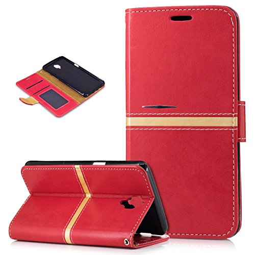 OnePlus 3T Case,OnePlus 3 Case,ikasus Premium PU Leather Fold Wallet Pouch Case Wallet Flip Cover Bookstyle Magnetic Card Slots & Stand Protective Case Cover for OnePlus 3 / 3T,Red ()