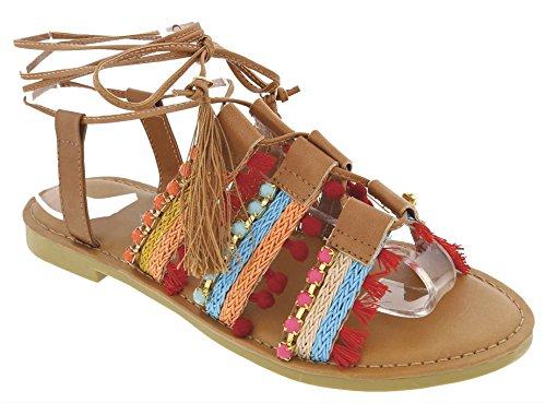Top Quality Tan Brown Gladiator Flat Low Heel Open Toe Slingback Ankle T Strap Sandalias De novia Marca planas Latest Designer Nice Thong Sandal Shoe Loafer On Sale For Women - Men Macys Sale