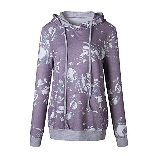 Barlver Women's Casual Hoodies Long Sleeve Sweatshirts Cowl Neck Floral Printed Hooded Pullover Top with Pockets by Barlver (Image #5)