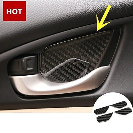 Amazon.com: Carbon Fiber Inner Door Handle Bowl Cover Trim 4pcs For Honda Civic Si 2017-2018: Automotive
