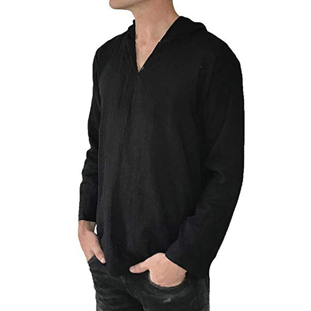 TAOtTAO - Blusa con Capucha para Hombre de algodón y Lino Suelto ...