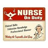 Nurse On Duty Metal Sign / Wall Plaque (Female in Uniform)