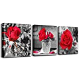 wall art for bedroom Simple Life Black and white rose flowers red Canvas Wall Art Decor 12'' x 12'' 3 Pieces Framed Canvas Prints Watercolor Giclee with Black Border Ready to Hang for Home Decoration