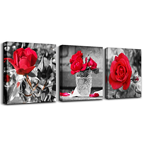 wall art for bedroom Simple Life Black and white rose flowers red Canvas Wall Art Decor 16