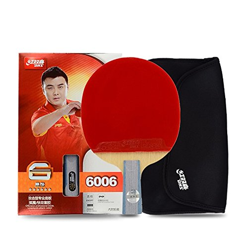DHS 6-Star 6006 Pen Hold Premium Table Tennis Racket Ping Pong Paddle Blade Inverted Rubber with Carry Case