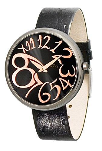 Moog Paris Ronde Art-Deco Women's Watch with Black & Rose Gold Dial, Interchangable Black Strap in Genuine Leather - M41671-011 ()