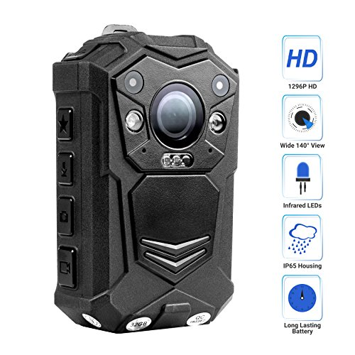 Ir Cam (R-Tech HD 1080P+ Up to 1296P(2034 x 1296) Infrared Night Vision Police Body Camera Body Worn Camera Security IR Cam with 32GB Built-in Memory Support Video/Audio Recording)