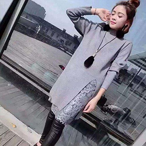 KAKA(TM) Girl Women Spring Autumn Skirt Stylish Lace Long Sleeve Wide Dress Grey XL