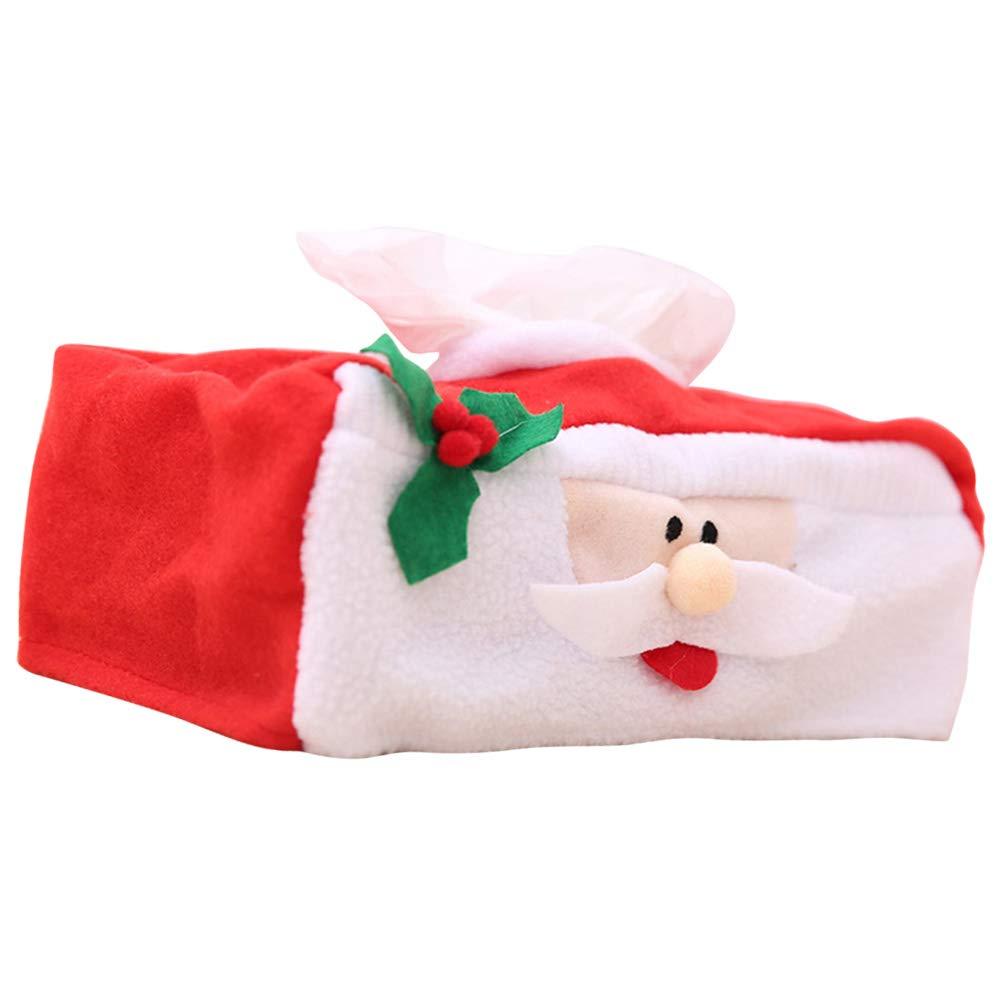 BESTOYARD Natale Tissue Box Quadrato Tessuto Babbo Natale Design Fazzoletti Box Dispenser di fazzoletti di Natale Decorazione 2 Pezzi