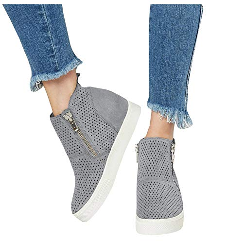 (LAICIGO Womens Platform Wedge Sneakers Slip on Hollow Out High Heel Side Zip Pump Booties)