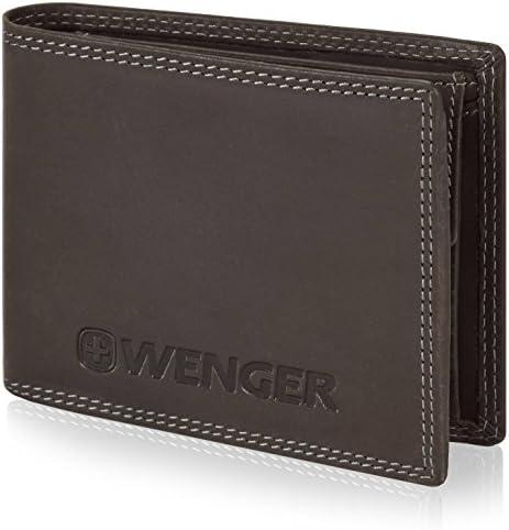 cab8c8105536d6 Wenger Herren-Geldbörse Querformat Leder 12,5 cm mit Klappfach und  Reißverschlussfach