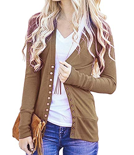 - Women's V-Neck Solid Button Down Knitwear Soft Basic Long Sleeve Knit Snap Cardigan Sweater Brown M