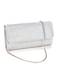 U-Story Womens Evening Wedding Party Small Clutch Bag Prom Shoulder Chain Handbag Tote (Silver)
