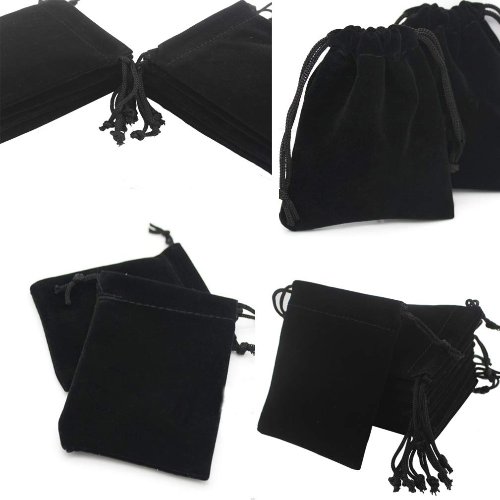 4EAELove Black Velvet Jewelry Pouch Package Drawstring Bags Gift Storage Display Holder Case Organizer 100pc by 4EAELove (Image #4)