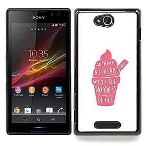 For Sony Xperia C Case , Crema de fresa rosada Caos Positivo - Diseño Patrón Teléfono Caso Cubierta Case Bumper Duro Protección Case Cover Funda
