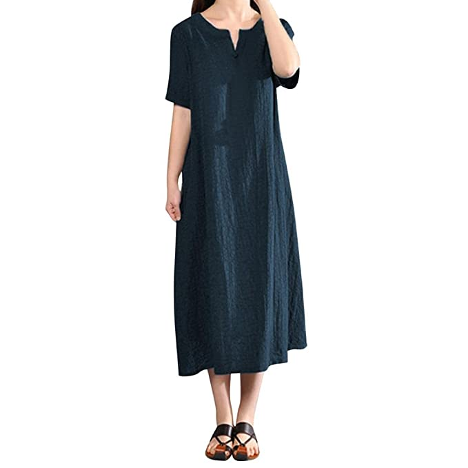 PAOLIAN Vestido Mujer Verano Casual Sólido Vestido Tallas Grandes Cuello V Fiesta Lino Vestido Manga Corta