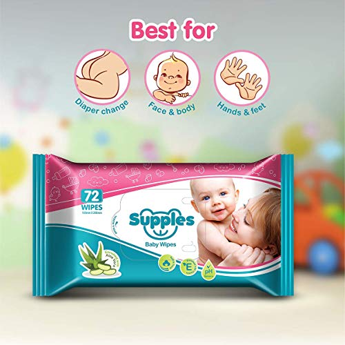Supples Baby Wet Wipes with Aloe Vera and Vitamin E – 72 Wipes/Pack (Pack of 9)