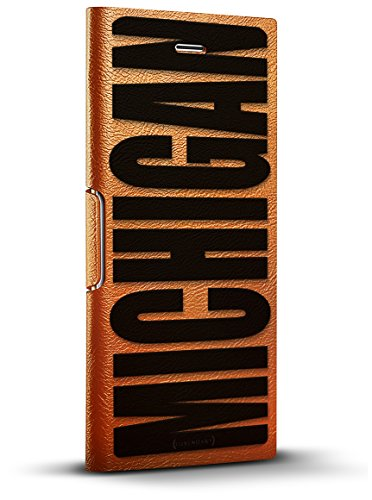 Brown Leather Michigan - Luxendary Bold Black Michigan Design iPhone X Leather Wallet Case - Tawny Brown