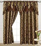 """Light Brown Curtain Panel with Attached Waterfall Valance 54"""" X 84"""" Tkdecor"""