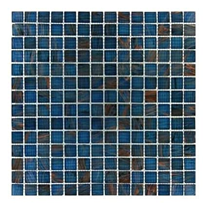 3 4 X 3 4 Glass Glossy Mosaic In Blue Iridescent