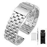 Solid Stainless Steel Watch Band Strap Bracelet Wristband 22mm with Double Buckle Clasp for Men Women Silver