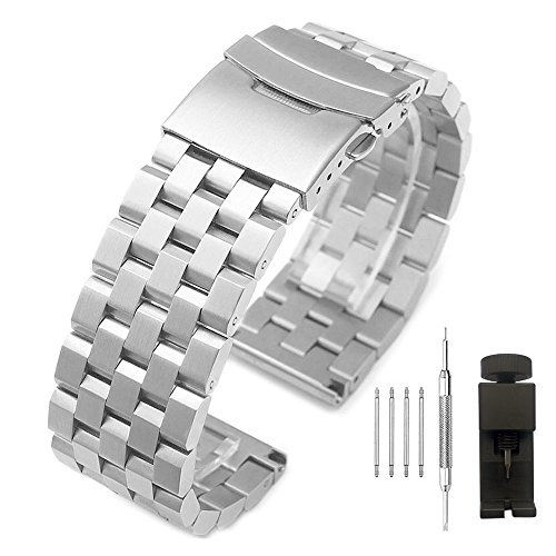 24 Mm Stainless Steel Watch Band - 24mm Brushed Stainless Steel Watch Band with Double Push Button Deployment Clasp 5 Rows Metal Watch Strap for Men Women Silver
